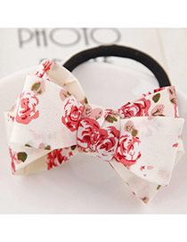 Sweet Red Flower Pattern Bowknot Decorated Simple Hair Band