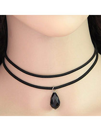 Sweet Black Beads Pendant Decorated Double Layer Necklace