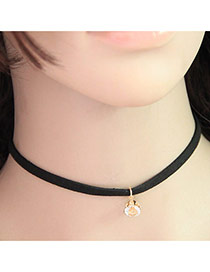 Temperament Black Diamond Pendant Decorated Simple Necklace