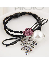 Elegant Red Flower&pearl&leaf Decorated Double Layer Simple Hair Band