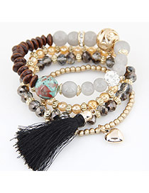 Trendy Black Hear Shape&tassel Pendant Decorated Multi-layer Simple Bracelet