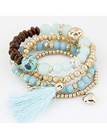 Trendy Light Blue Hear Shape&tassel Pendant Decorated Multi-layer Simple Bracelet