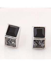 Sweet Black Geometric Gemstone Decorated Square Shape Simple Earrings