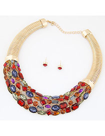 Fashion Multi-color Geometric Gemstone Decorated Hollow Out Short Chain Jewelry Sets