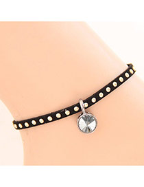 Personality Black Diamond Pendant Decorated Rivet Woman Anklet