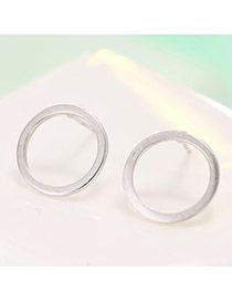 Fashion Silver Color Metal Round Shape Design Simple Earrings