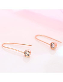 Personality Rose Gold Diamond Decorated Simple Bend Earrings