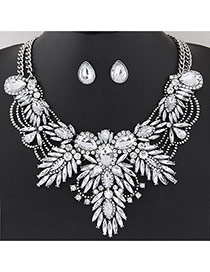 Luxury White Geometric Shape Diamond Decorated Double Layer Jewelry Sets