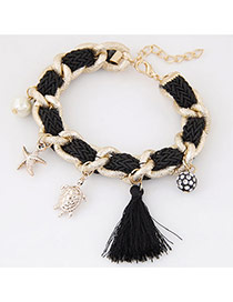 Bohemia Black Tortoise& Starfish&pearl Pendant Decorated Hand-woven Bracelet