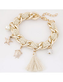 Bohemia Beige Tortoise& Starfish&pearl Pendant Decorated Hand-woven Bracelet