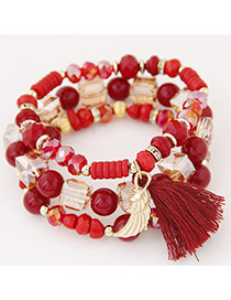 Bohemia Red Sea Wave Shape&tassel Pendant Decorated Multilayer Bracelet