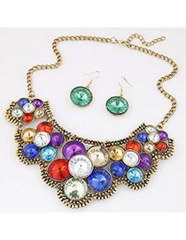 Vintage Multi-color Diamond Flower Shape Decorated Short Chain Jewelry Sets