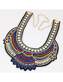 Bohemia Blue Beads Weaving Geometric Shape Decorated Collar Necklace