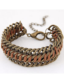 Exaggerated Bronze Metal Chain Weaving Decorated Simple Bracelet