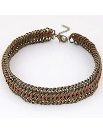 Exaggerated Black Metal Chain Weaving Decorated Simple Necklace