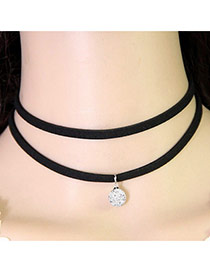 Temperament Black Diamond Pendant Decorated Double Layer Necklace