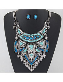 Exaggerated Silver Color+blue Waterdrop Tassel Pendant Decorated Geometric Shape Jewelry Sets