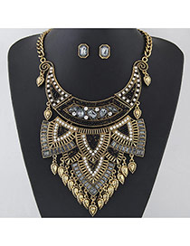 Exaggerated Gold Color+black Waterdrop Tassel Pendant Decorated Geometric Shape Jewelry Sets