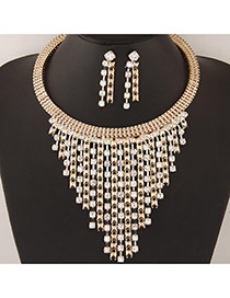 Fashion Gold Color Diamond Tassel Pendant Decorated Collar Jewelry Sets