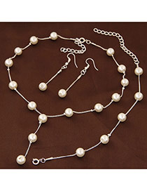 Sweet Silver Color Pearl Decorated Simple Design Jewelry Sets