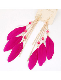 Bohemia Plum Red Metal Chain&feather Tassel Pendant Decorated Simpe Earring