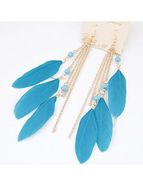 Bohemia Blue Metal Chain&feather Tassel Pendant Decorated Simpe Earring