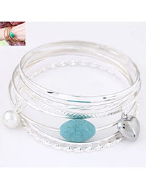 Fashion Silver Color Pearl&heart Shape&gemstone Pendant Decorated Multi-layer Bracelet