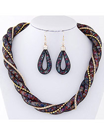 Trendy Dark Blue Metal Chain Decorated Double Layer Twist Shape Jewelry Sets