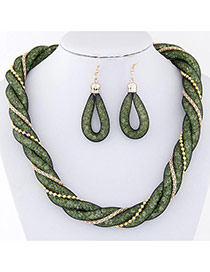 Trendy Green Metal Chain Decorated Double Layer Twist Shape Jewelry Sets