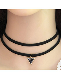 Trendy Black Triangle Shape Pedant Decorated Double Layer Necklace