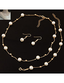 Sweet Gold Color Pearl&bead Decorated Short Chain Simple Jewelry Sets