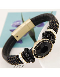 Trendy Black Oval Shape Gemstone Decorated Simple Magnetic Snap Bracelet