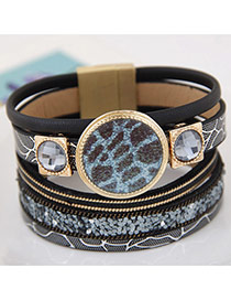 Trendy Black Round Shape Gemstone Decorated Multi-layer Magnetic Snap Bracelet
