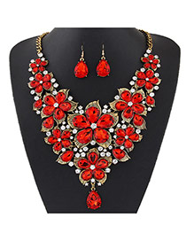 Fashion Gold Color Water Drop Shape Diamond Decorated Flower Shape Jewelry Sets