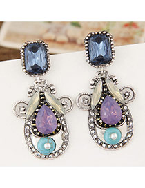 Vintage Multi-color Square Shape Diamond Decorated Water Drop Shape Earrings