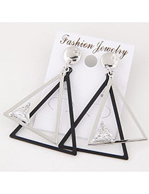 Fashion Silver Color+black Diamond Decorated Double Layer Triangle Shape Simple Earrings