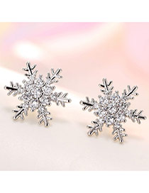 Sweet Silver Color Round Shape Diamond Decorated Snowflake Shape Earrings