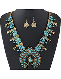 Personality Green Flower Shape Decorated Short Chain Jewelry Sets