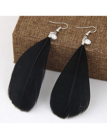 Elegant Black Pure Color Feather Pendant Decorated Simple Earring
