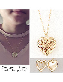 Elegant Gold Color Hollow Out Heart Shape Pendant Decorated Simple Necklace