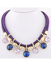 Temperament Purple Round Diamond Decorated Double Layer Necklace