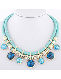 Temperament Light Blue Round Diamond Decorated Double Layer Necklace