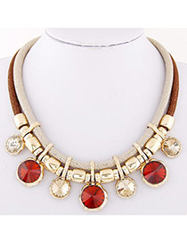 Temperament Coffee Round Diamond Decorated Double Layer Necklace
