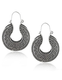 Bohemia Anti-silver Geometric Shape Pendant Decorated Simple Earring