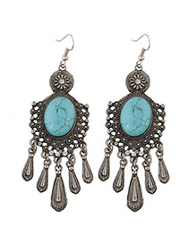 Vintage Anti-silver Waterdrop Tassel Pendant Decorated Geometric Earring