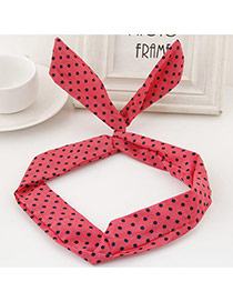 Sweet Red Polka Dot Decorated Rabbit Ears Hair Hoop& Hair Band