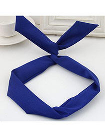 Sweet Blue Pure Color Decorated Bunny Ears Simple Hair Hoop&hair Band
