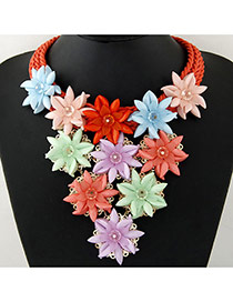 Trendy Multi-color Flower Pendant Decorated Short Chain Collar Necklace