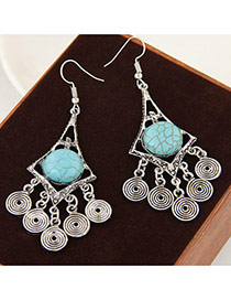 Vintage Blue Hollow Out Coins Pendant Decorated Simple Earrings