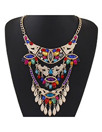 Fashion Multi-color Oval Shape Gemstone Decorated Collar Necklace
